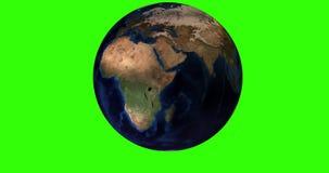 animación 4K del planeta de la tierra con un fondo verde de la croma stock de ilustración