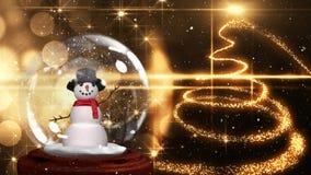 Animación linda de la Navidad del muñeco de nieve en globo de la nieve y rastro ligero espiral