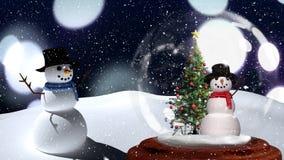 Animación linda de la Navidad de los pares del muñeco de nieve contra fondo del bokeh