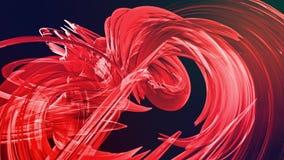 Animación lisa colocada 3d de las cintas brillantes brillantes encrespadas en brillos del círculo como el vidrio Las rayas colori almacen de video