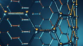 Animación loopable del nanostructure del átomo de Graphene Nanotube en la forma de panal Nanotecnología y ciencias del concepto 4 stock de ilustración