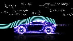 Animación modelo del coche de la teoría de la aerodinámica y de la ecuación de la fórmula matemática de la física para la present ilustración del vector