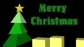 Animación moderna de la Navidad, árbol de navidad 3d integrado por pirámides, Feliz Navidad del título animado y regalo anmated libre illustration