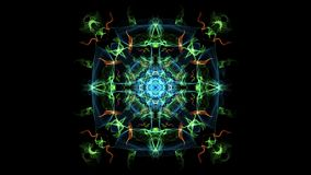 Animación multicolora abstracta del fractal en la composición cuadrada, efecto del humo abigarrado Ornamento simétrico agradable  almacen de metraje de vídeo