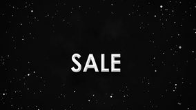 Animación negra de la bandera de la venta de viernes de las partículas blancas en el cielo de la nebulosa metrajes