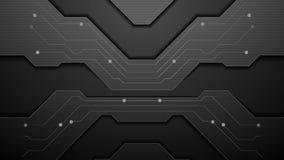 Animación negra del vídeo de la tecnología de la placa de circuito stock de ilustración