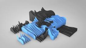 Animación ondulada abstracta de las formas, película de la representación 3D stock de ilustración