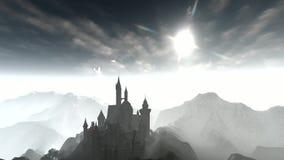 Animación oscura del castillo con el cielo dramático almacen de metraje de vídeo