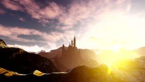 Animación oscura del castillo con el cielo dramático almacen de video