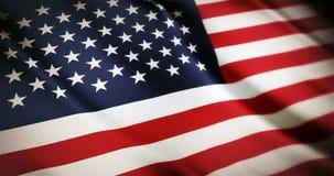 Animación que agita de colocación inconsútil americana realista de la bandera nacional de 4K Estados Unidos almacen de video