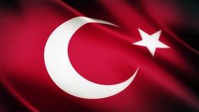 Animación que agita de colocación inconsútil turca realista de la bandera nacional 4K almacen de metraje de vídeo