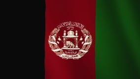 Animación que agita de la bandera de Afganistán De plena pantalla Símbolo del país ilustración del vector
