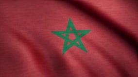 Animación que agita de la bandera de Marruecos Bandera de Marruecos en el viento metrajes