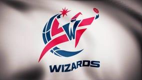 Animación que agita en la bandera del viento del club Washington Wizards del baloncesto Uso editorial solamente fotos de archivo