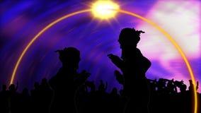 Animación que muestra el baile de la gente joven stock de ilustración