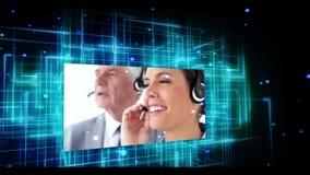 Animación que muestra mecanografiar, el centro de llamada y a la mujer de negocios presentando el icono almacen de metraje de vídeo