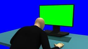 Animación que muestra un 3dman que se sienta delante de una pantalla verde