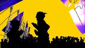 Animación que presenta el baile de la gente joven stock de ilustración