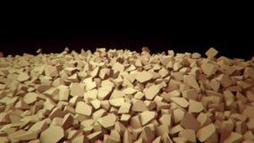 Animación que representa desmenuzar, pared que se derrumba stock de ilustración
