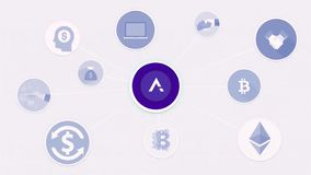 Animación que representa la interconexión de monedas existencias La moneda de Blockchain y el valor de intercambio en pantalla es stock de ilustración