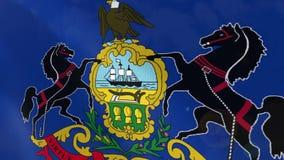 Animación realista de la bandera de Pennsylvania ilustración del vector