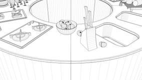 Animación redonda moderna del interior de la cocina almacen de video