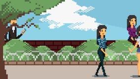 Animación retra del carácter del juego del arte del pixel de la diversa gente que camina en la animación de la escena del parque  stock de ilustración