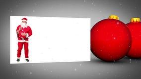 Animación roja de las bolas de la Navidad almacen de metraje de vídeo