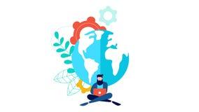 Animación social del concepto de la red con el hombre en línea