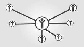 Animación social del negocio del icono 4k de la red de seres humanos almacen de metraje de vídeo