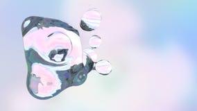 Animación tridimensional abstracta de los descensos coloridos del agua almacen de metraje de vídeo