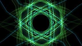 Animación verde abstracta del fractal en la composición hexagonal, Niza ornamento simétrico que gira en fondo negro libre illustration