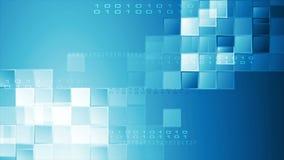 Animación video abstracta azul de alta tecnología con los cuadrados y código binario metrajes