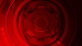 Animación video abstracta futurista de la tecnología rojo oscuro