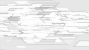 Animación video abstracta geométrica de la tecnología del blanco gris