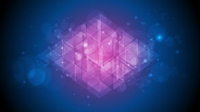 Animación video chispeante brillante púrpura azul del extracto del polígono de la tecnología
