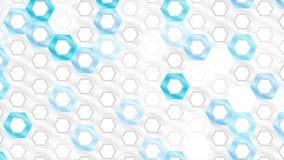 Animación video de la tecnología brillante blanca y azul de los hexágonos