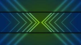 Animación video de la tecnología con las flechas de neón ilustración del vector
