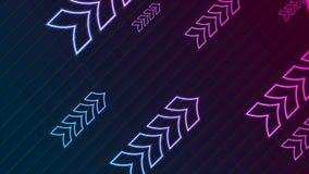 Animación video de la tecnología de neón abstracta púrpura azul de las flechas stock de ilustración