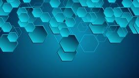 Animación video geométrica de alta tecnología azul marino libre illustration