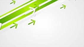 Animación video geométrica de la tecnología abstracta verde con las flechas