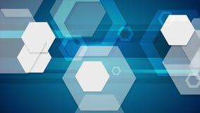 Animación video geométrica de la tecnología azul abstracta