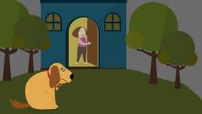 Animaci kreskówka osamotniony szczeniaka psa zwierzęcia domowego czekanie z smutnym brać lov i osamotnionym wyrażeniem dla rodzin royalty ilustracja