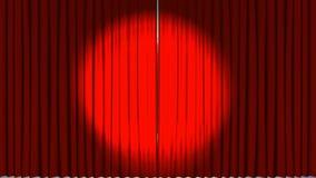 Animaci?n de la apertura y del proyector de las cortinas del teatro stock de ilustración