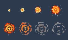 Animaci?n de la explosi?n de la historieta Marcos de estallido del efecto, tiro animado estallar con el sistema del ejemplo del v libre illustration