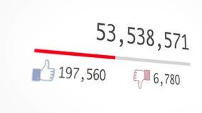 Animaci?n de un contador video que aumenta r?pidamente a 1 mil millones opiniones Con perspectiva y la falta de definici?n, foco
