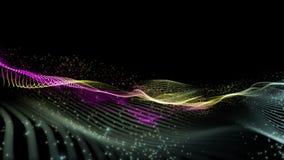 Animaci?n futurista con el objeto de la onda y part?culas que brillan intensamente en la c?mara lenta, 4096x2304 lazo 4K libre illustration