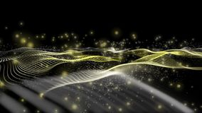 Animaci?n futurista con el objeto de la onda y part?culas que brillan intensamente en la c?mara lenta, 4096x2304 lazo 4K ilustración del vector