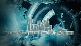 Animación de la ciudad almacen de metraje de vídeo