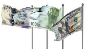 Animación de las banderas 3d de los billetes de banco almacen de metraje de vídeo